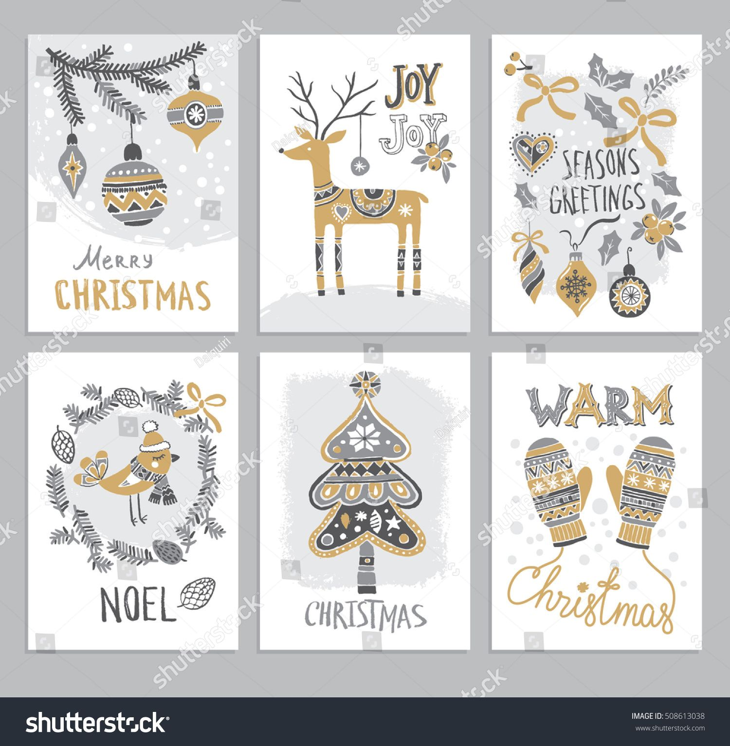 Christmas Hand Drawn Cards With Christmas Tree, Fir Branch, Deer,