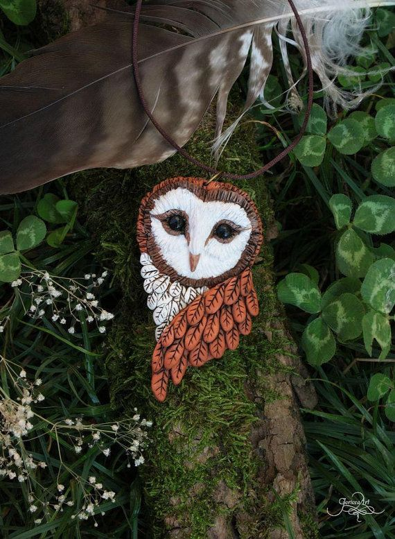Barn Owl pendant  necklace  owl jewelry  forest by GloriosaArt