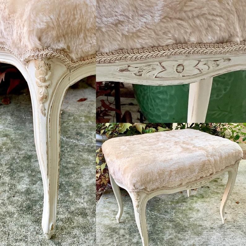 French Cabriole Leg Vanity Bench Faux Fur Stool White