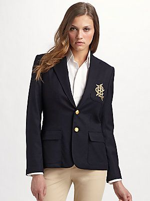 Ralph Lauren Blue Label Custom Wool Crested Blazer Ralph Lauren Blue Labels Fashion Ralph Lauren Blazer