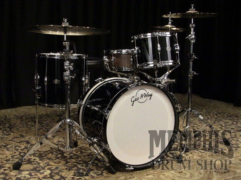 George H Way Studio Drum Set 20 12 14 Piano Black Lacquer With