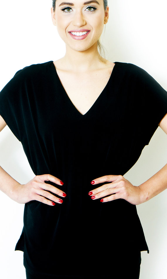 Oversized Black Blouse Short Sleeve Loose Fit di scelleclothing