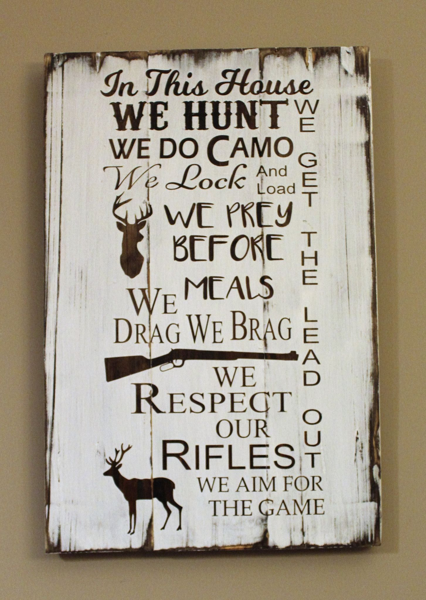 In This House We Hunt Carved Wood Sign Gift For Hunter