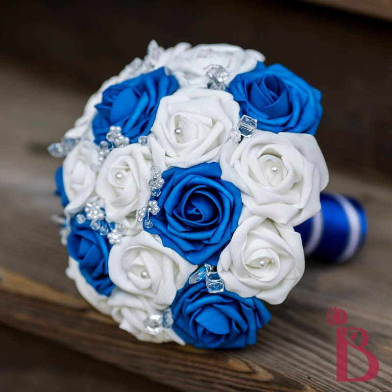 Royal Blue Wedding Bouquet White Bridal And Roses With Crystals Silk Flower Alternative