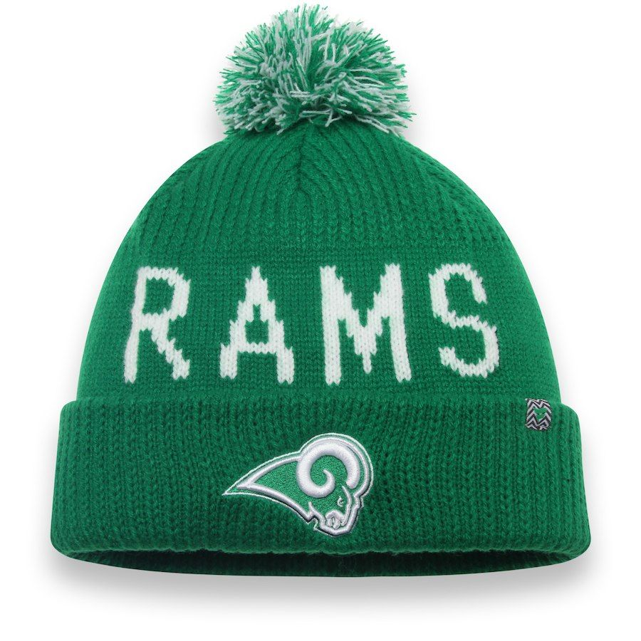 Men s Los Angeles Rams NFL Pro Line by Fanatics Branded Kelly Green St.  Patrick s Day Cuffed Knit Hat with Pom eecab91a4110