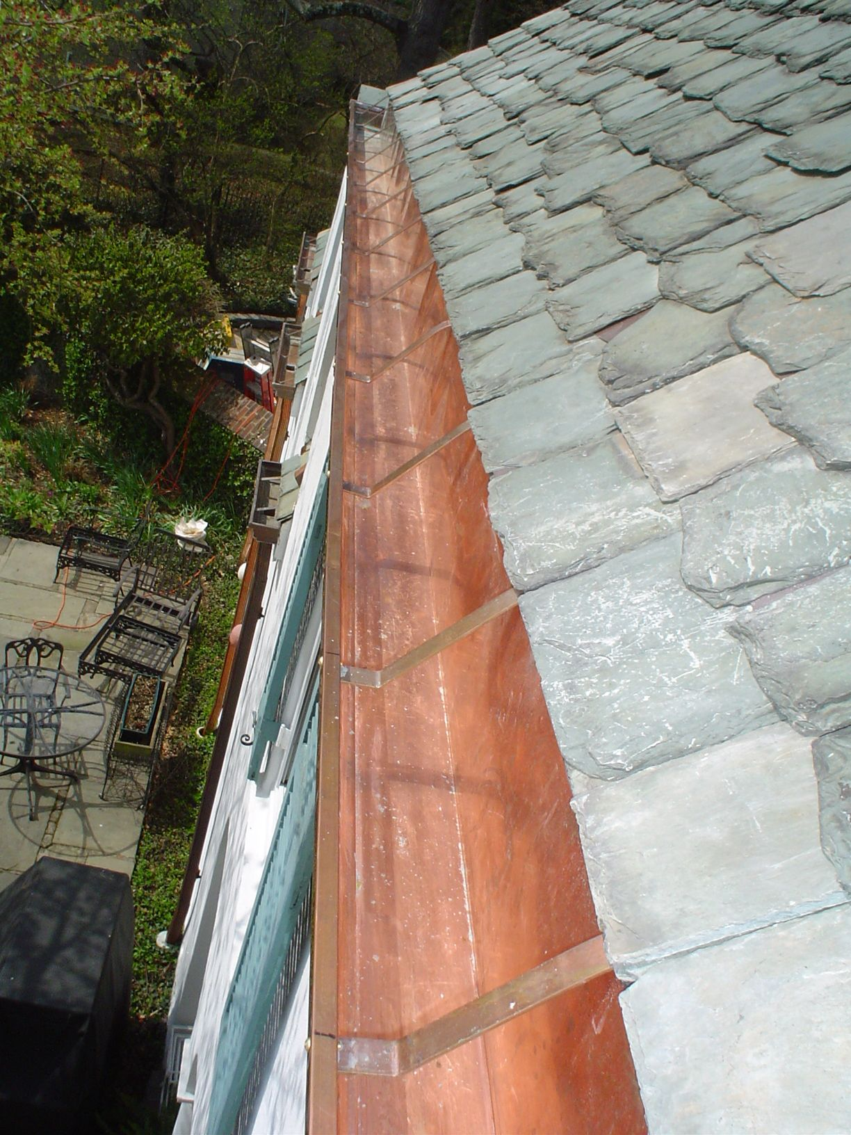 Copper Gutters On A Slate Roof By The Durable Slate Company Gutters Copper Gutters Exterior Paint