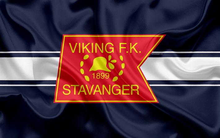 Download Wallpapers Viking Fk 4k Norwegian Football Club Emblem Logo Eliteserien Norwegian Football Championships Football Stavanger Norway Silk Flag Stavanger Football Club Vikings