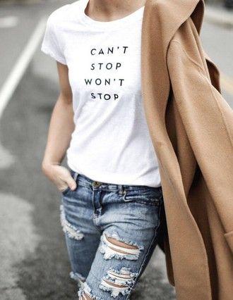 t-shirt blue jeans coat white t-shirt slogan t-shirts ripped jeans camel coat