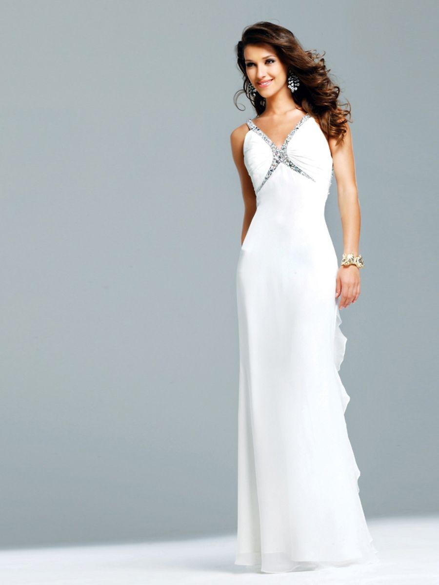 White chiffon sequined sweetheart neckline sleeveless floorlength