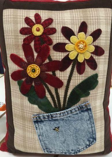 Wool pillow by Karen #feltedwoolcrafts