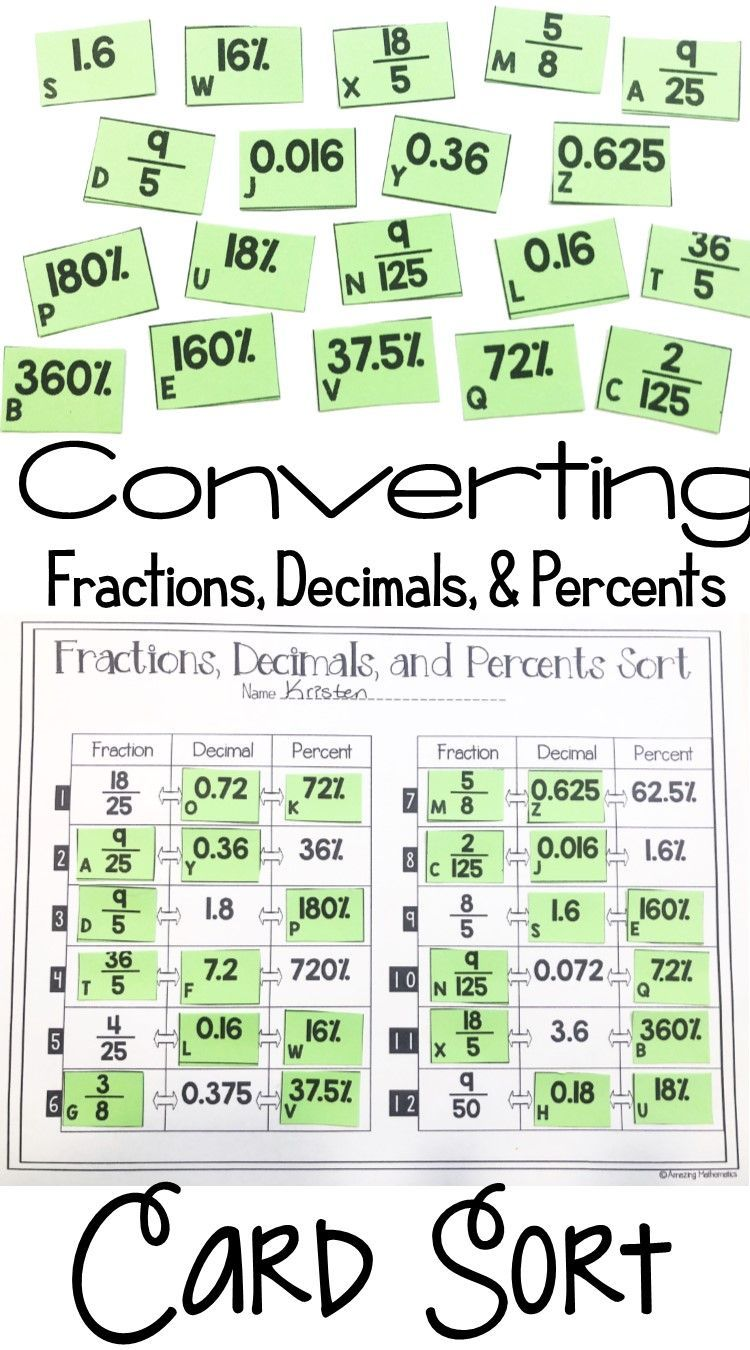 Fractions Decimals And Percents Card Sort 7th Grade Math