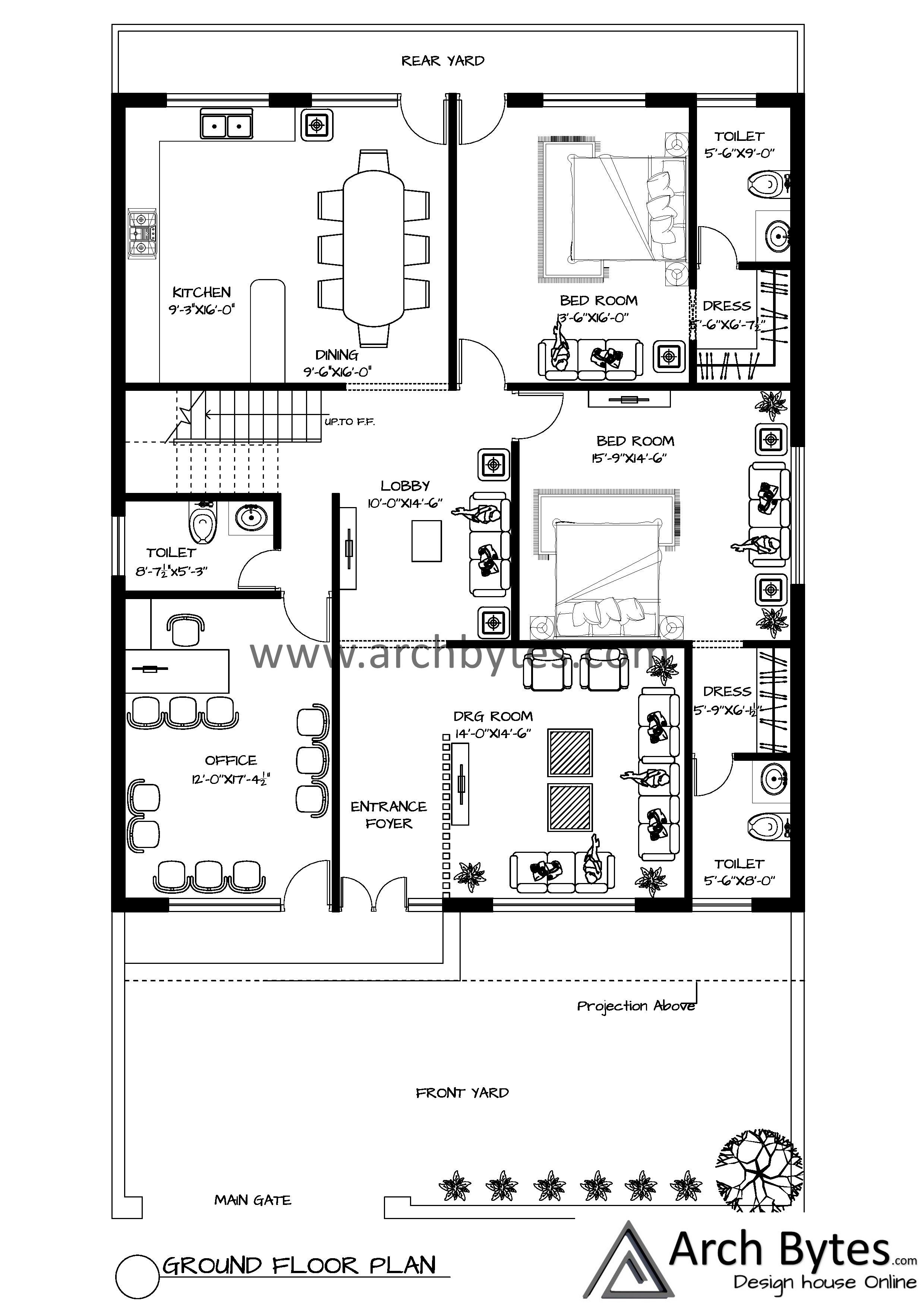 House Plan For 40x65 Feet Plot Size 266 Square Yards Gaj House Plans How To Plan Big Houses