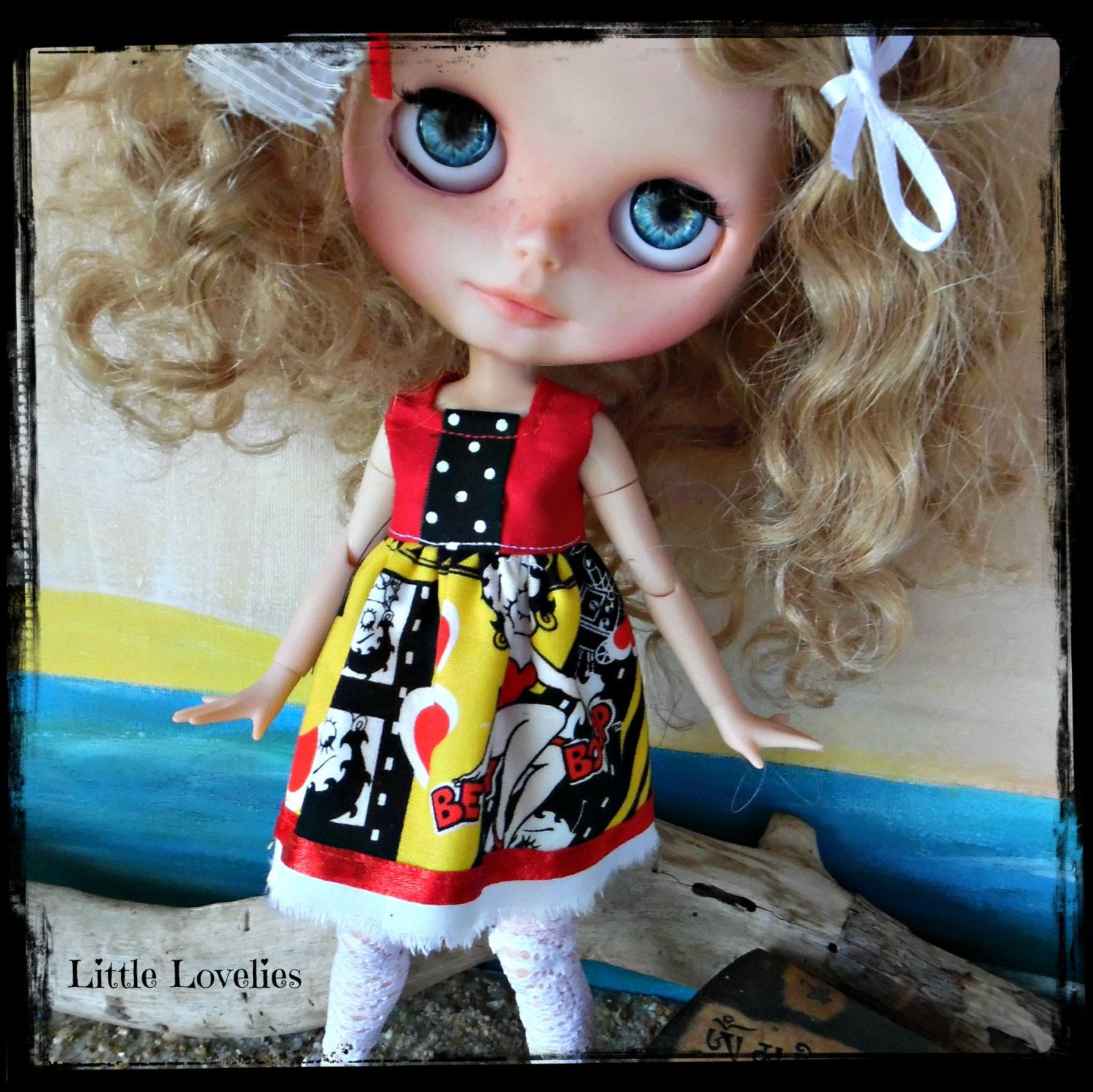 """BLYTHE DOLL Dress - OOAK - """"Celebrate Betty"""" - Betty Boop Christmas or Party Dress by CooeeChris on Etsy"""