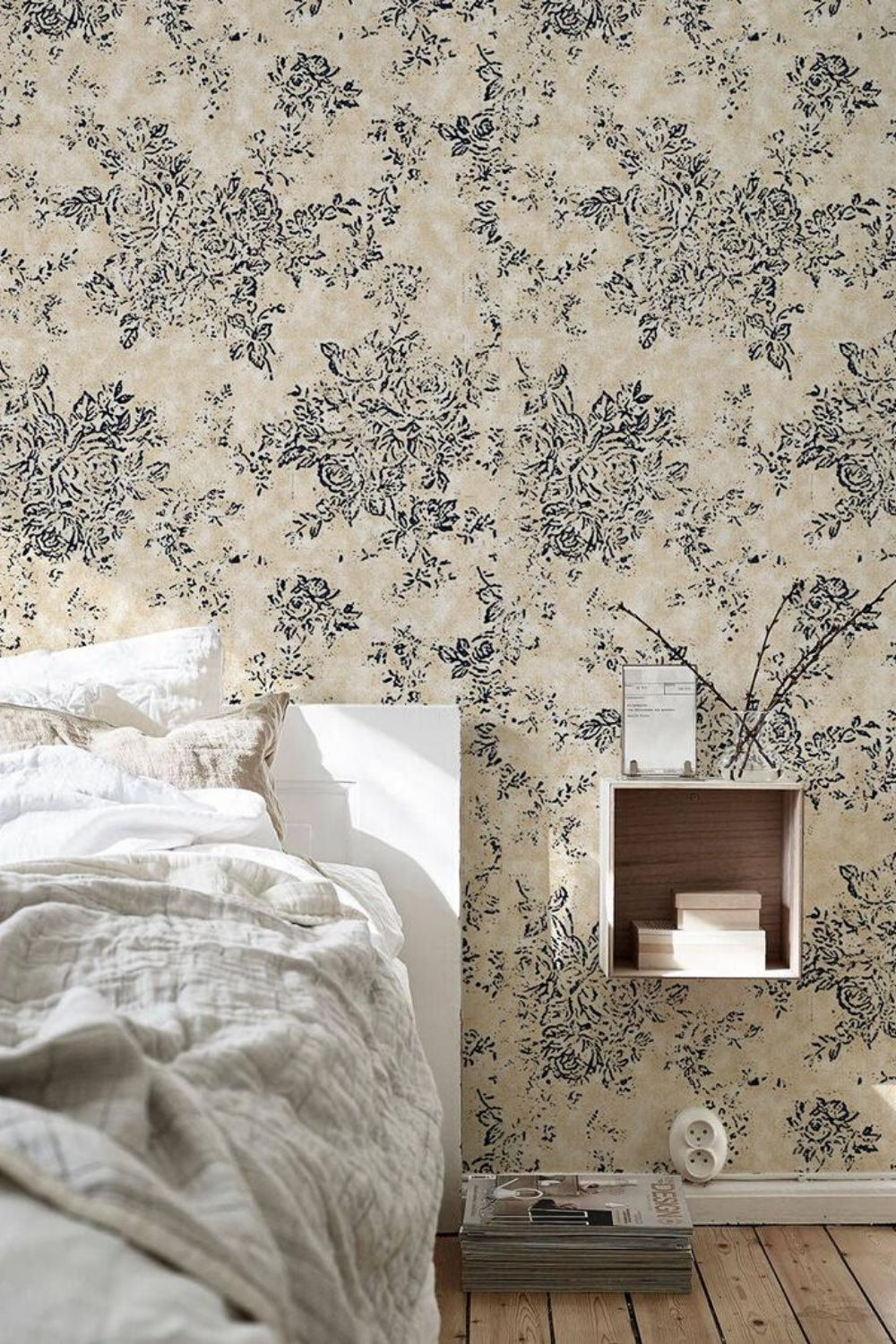 Old Style Floral Wallpaper Removable Wallpaper Black And Beige Etsy How To Install Wallpaper Removable Wallpaper Bedroom Decor