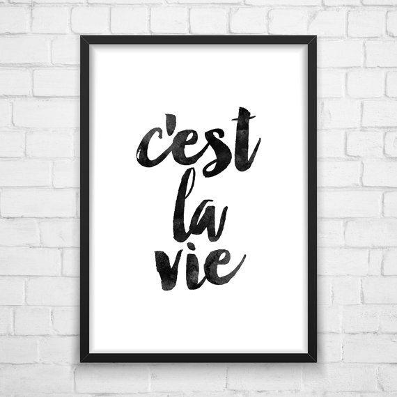C'est la vie Typography Print Watercolor by MotivationalThoughts