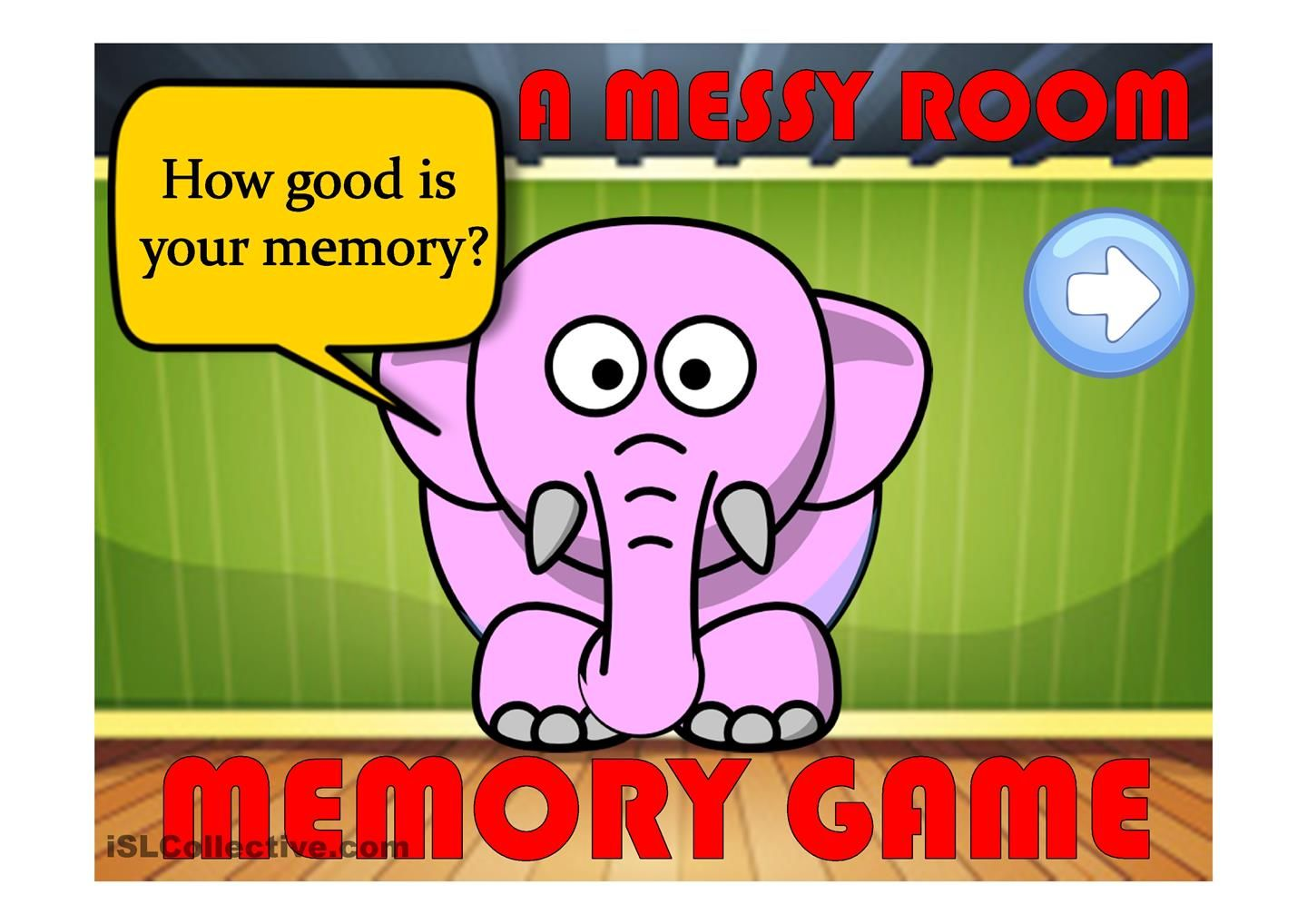A MESSY ROOM 1- a memory game (prepositions)