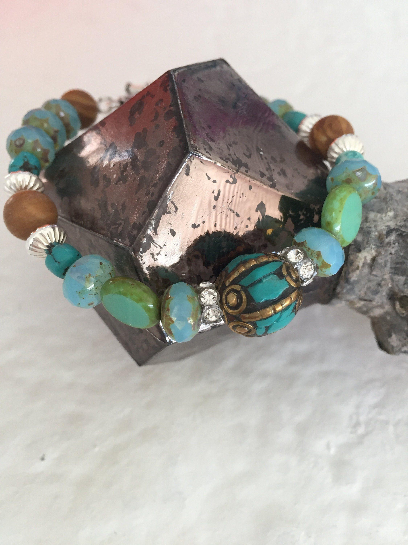 7bc842b799bb8 Boho Beaded Bracelet, Tibetian Turquoise, Sterling Silver Spacers ...
