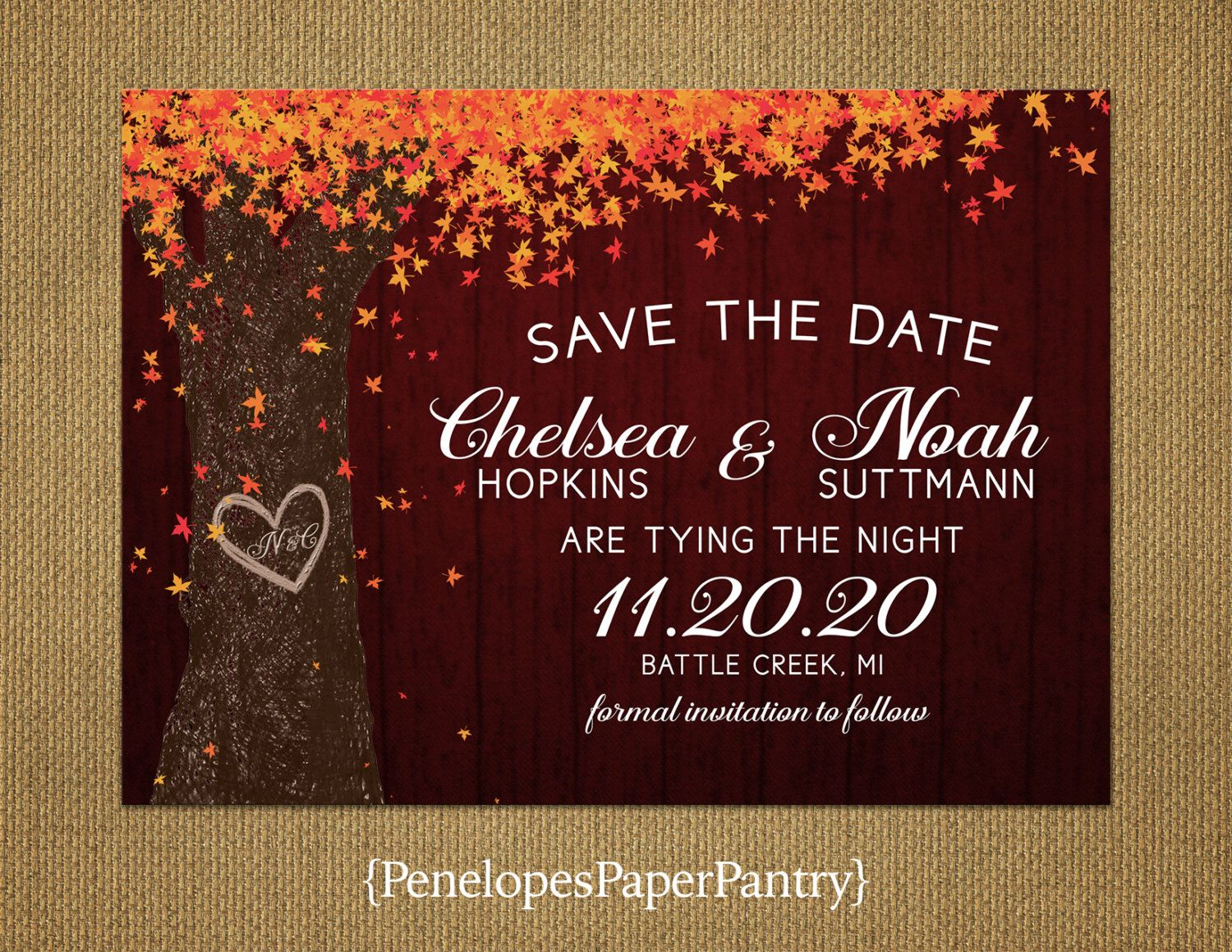 Save The Date,Fall Wedding Save The Date,Rustic Save The Date Card ...