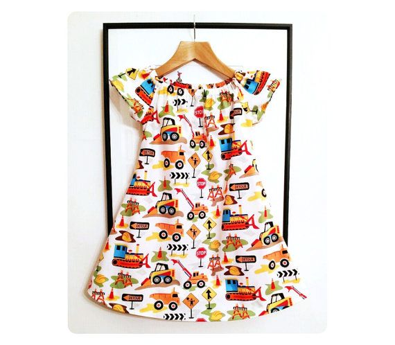 Dig It Play Dress - Handmade in colourful cotton fabric, light for Summer and perfect for girls who love cars, road sets and big diggers!