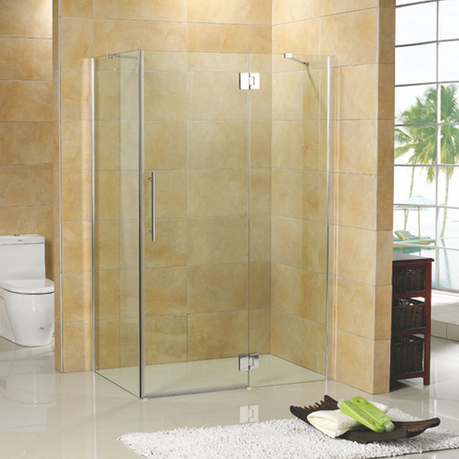 46 X 34 Suzanne Corner Shower Enclosure With Tray Right