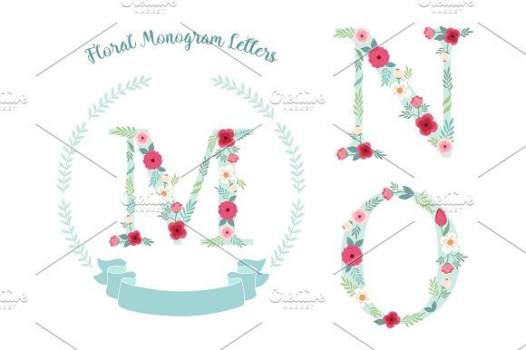 Cute Vintage Monogram Alphabet Letters With Hand Drawn Rustic Flowers Graphics