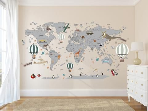 Airplane World Map Decal - Clear Vinyl Decal - Boys Room Decals - World Map Mural - Hot Air Balloon World Map - Custom Name Map - Animal world map