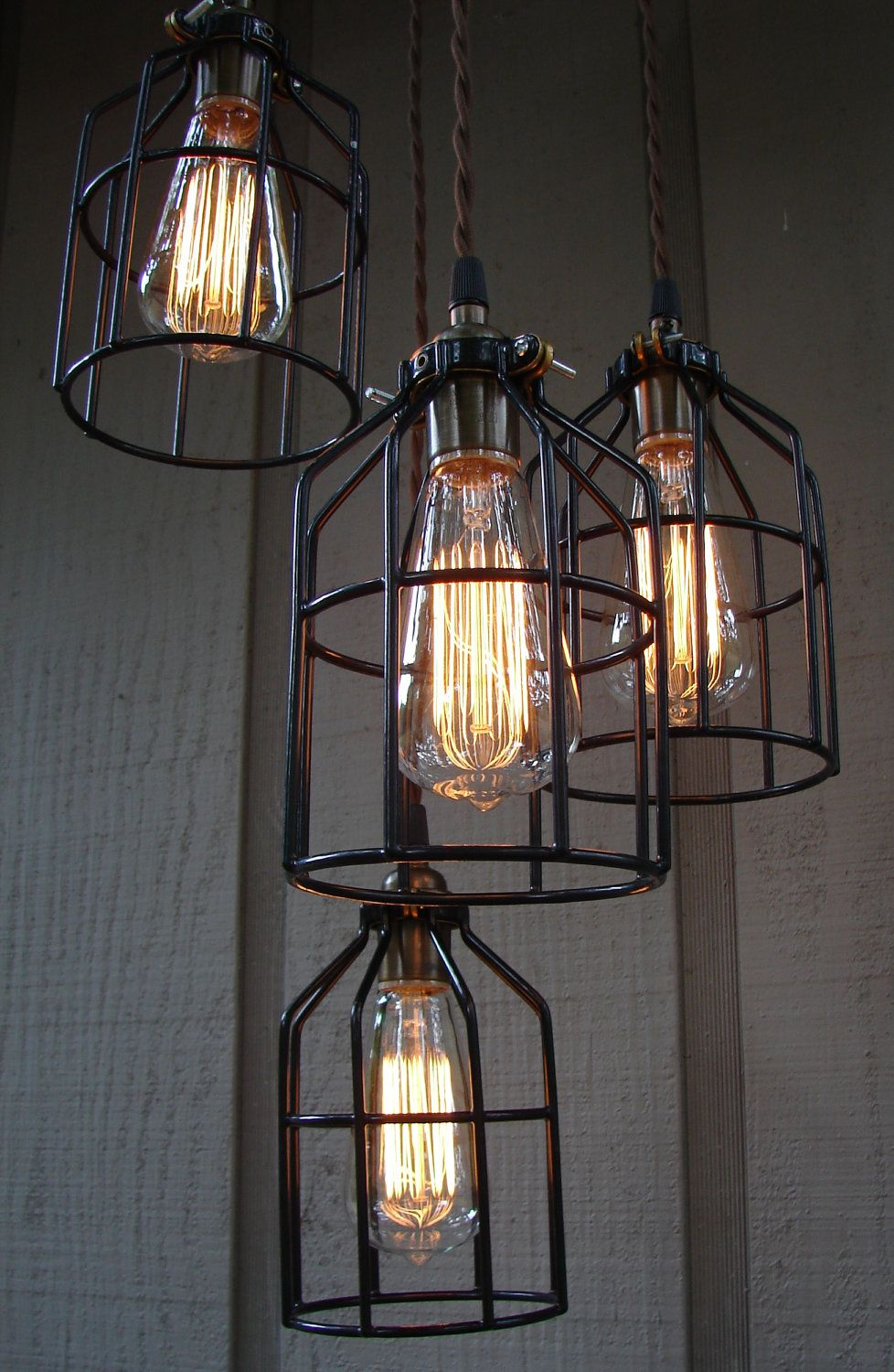 Upcycled Industrial Edison Bulb Cage Hanging Pendant Light - Kitchen light fixtures edison bulb