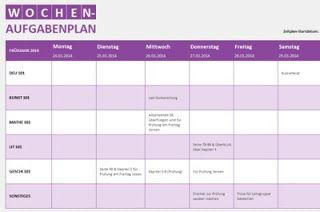 Aufgabenplan (Woche) für Excel online Familien planer