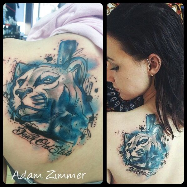 Watercolor Penn State Nittany Lion Tattoo By Adam Zimmer