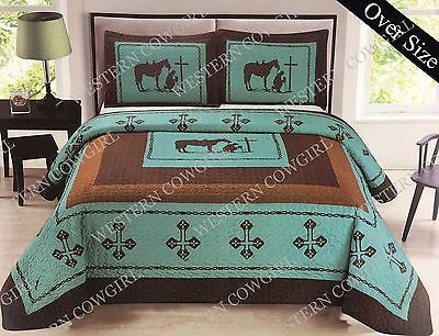 Details About Texas Praying Cowboy Cross Western Quilt Bedspread Comforter 3 Pcs Oversize Set With Images Bedspreads Comforters