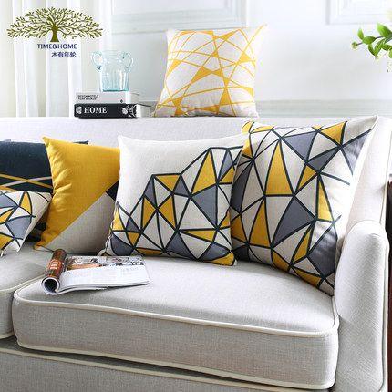 木有年轮 北欧几何条纹沙发抱枕 厚实棉麻装饰摆设靠垫车用靠枕