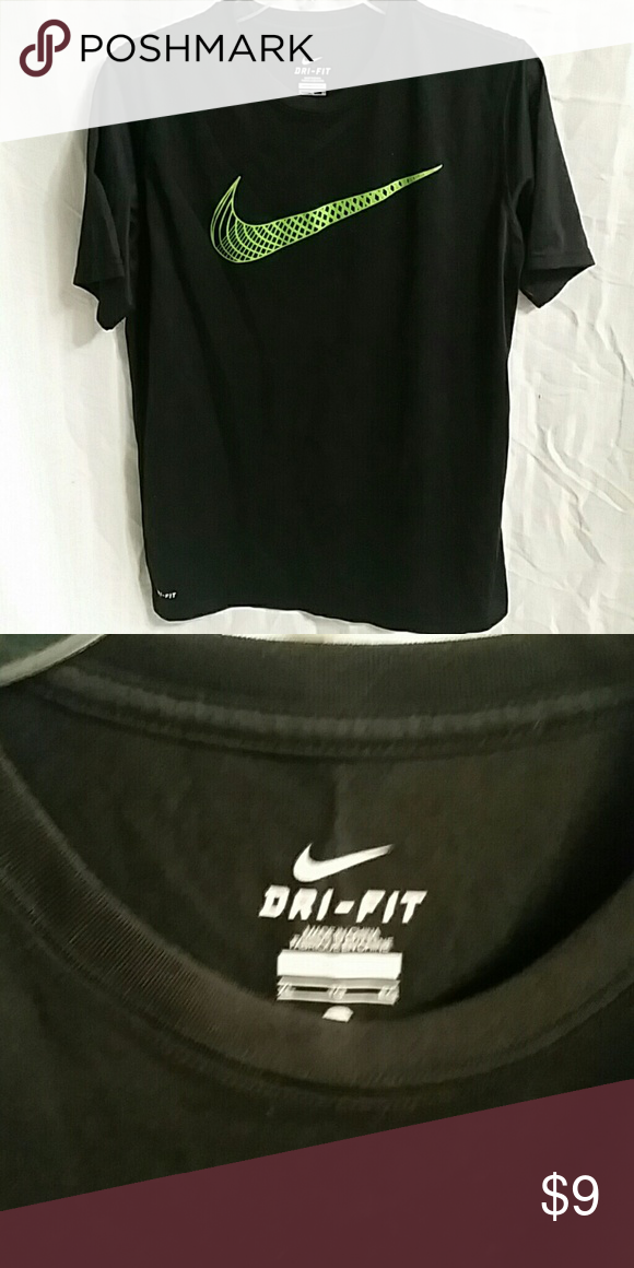 e93d83b9 Boys active shirt Dri-fit active tee shirt. Black with green nike swoosh  Nike Shirts & Tops Tees - Short Sleeve