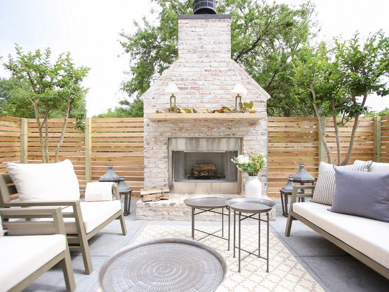 An Entertaining Oasis Exterior Fireplace Modern Craftsman