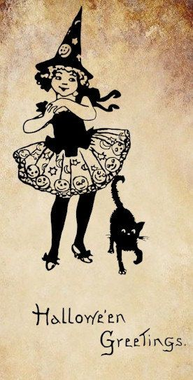 Witch Girl Black Cat Halloween Png Clip Art Digital Graphics Image Download On Etsy 100