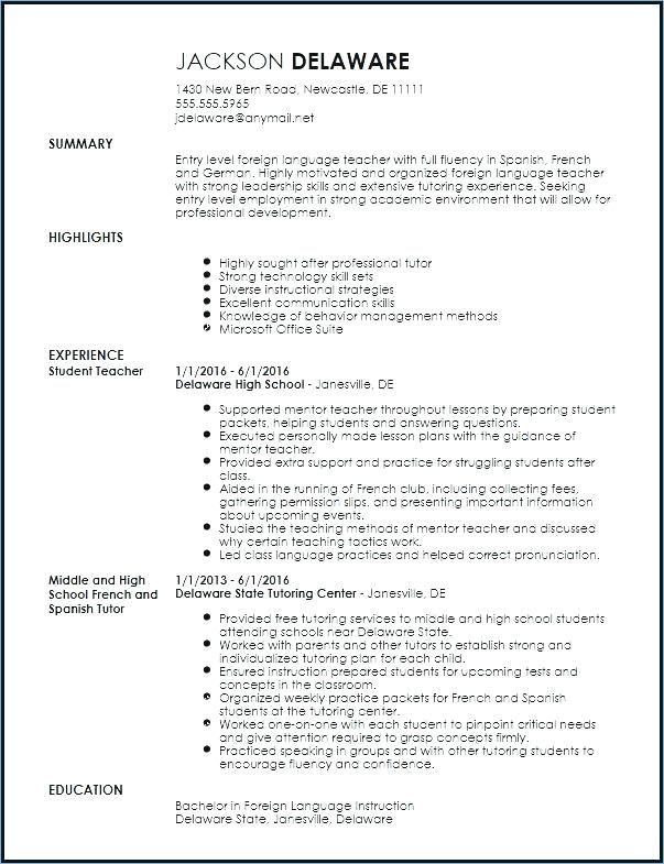 Resume Format Language Skills Resume Format Teaching Resume Teacher Resume Template Free Teacher Resume Template