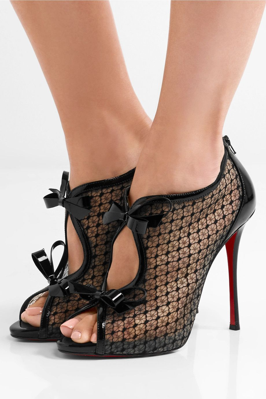 54e9aa160214 CHRISTIAN LOUBOUTIN Empiralta 120 bow-embellished embroidered mesh ...