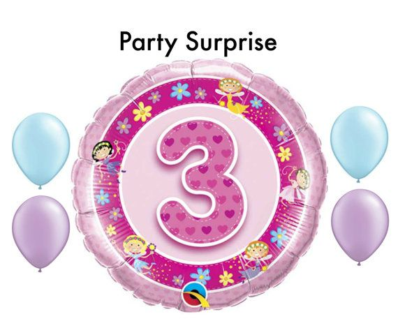 3rd Birthday Girl Balloons 3 Years Old By PartySurprise