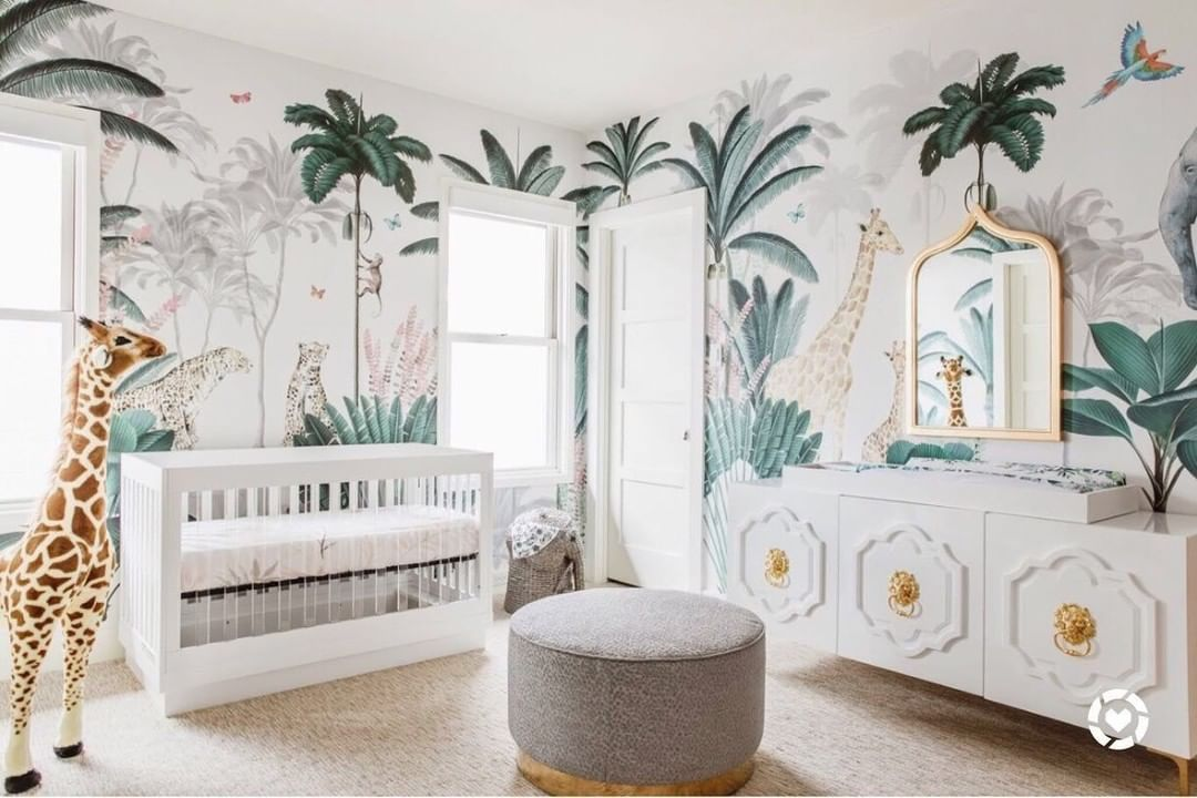 Babyletto S Instagram Photo Jungle Chic Babyletto Harlow Crib Nursery Designed By Mam In 2020 Kids Room Wallpaper Jungle Wallpaper Safari Theme Nursery