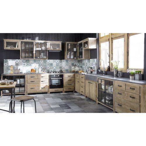 Meuble bas vitré de cuisine en bois et pierre L 90 cm Copenhague