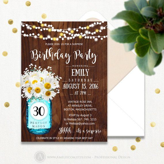 30th Birthday Party Invitation Printable Mason Jar Daisy Adult Surprise Invites Any Ages