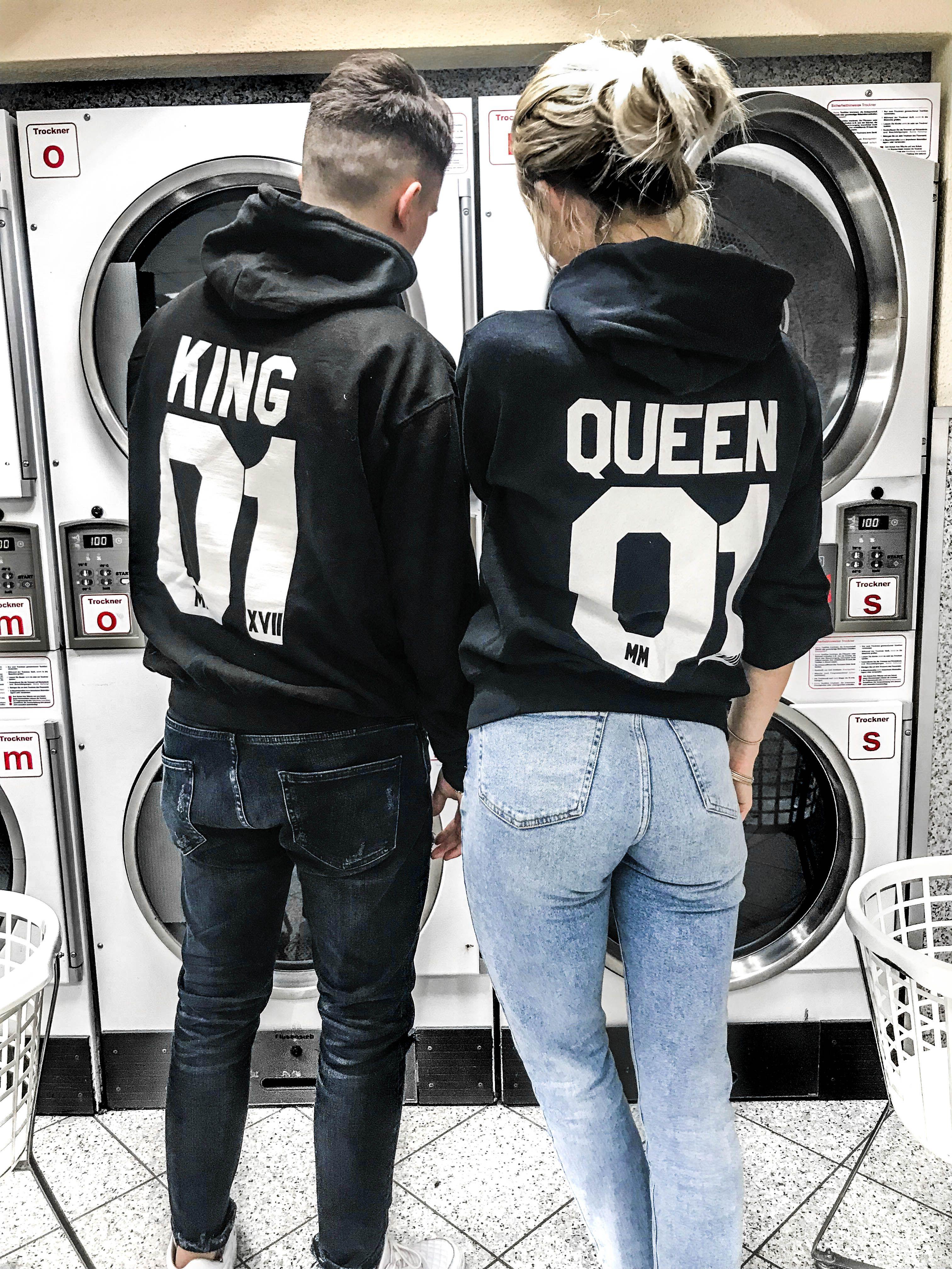 b7138814 2er Set Hamburger Haenger ® King 01 & Queen 01 Hoodie Schwarz Weiss ...