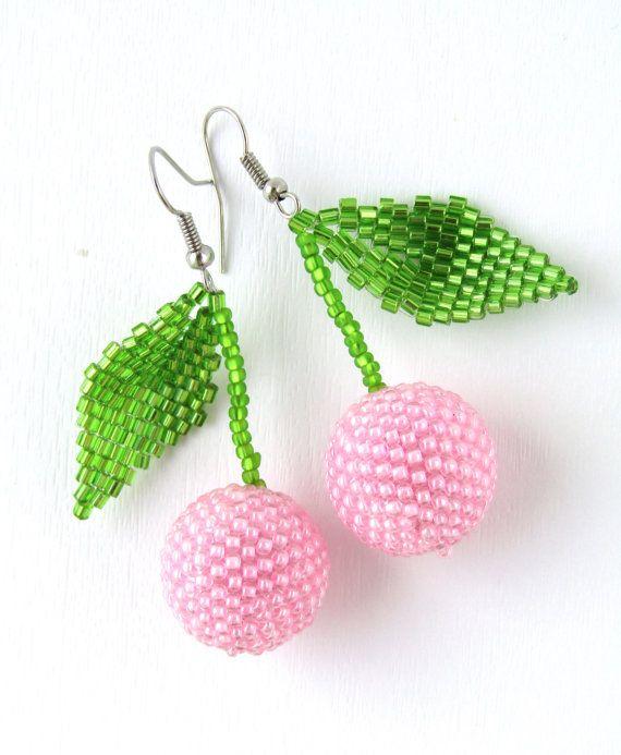 Beaded Dangle Earrings Cherry Earrings Wholesale Jewelry Fruit