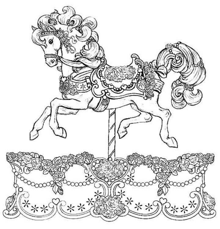 Carousel Horse Coloring Page Horse Coloring Pages Horse Coloring Animal Coloring Pages