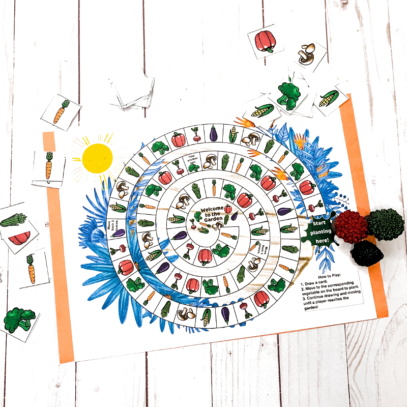 This Free Printable Garden Board Game Is Perfect For Kids Children Will Enjoy Drawing A Vegetable In 2020 Free Printable Flash Cards Board Games Printable Board Games