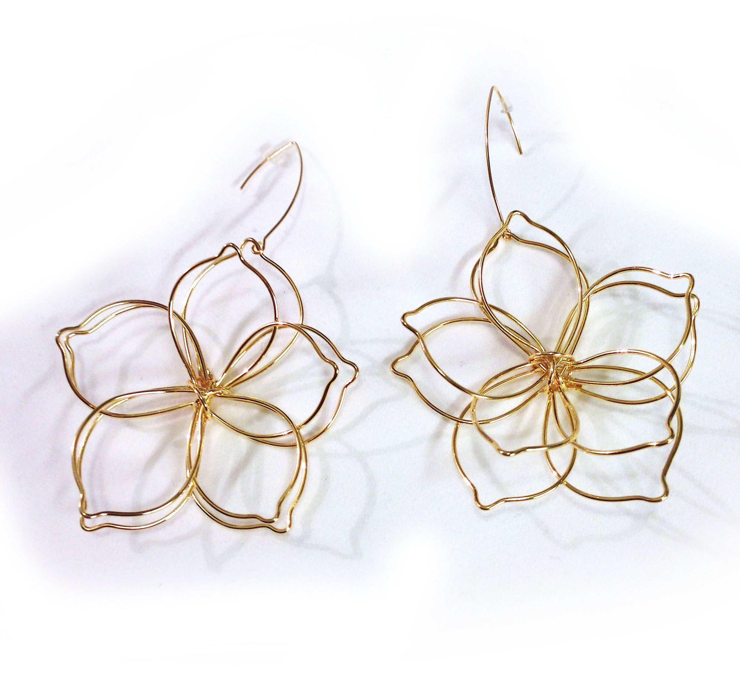 flower and p stud gold pink earrings nude large