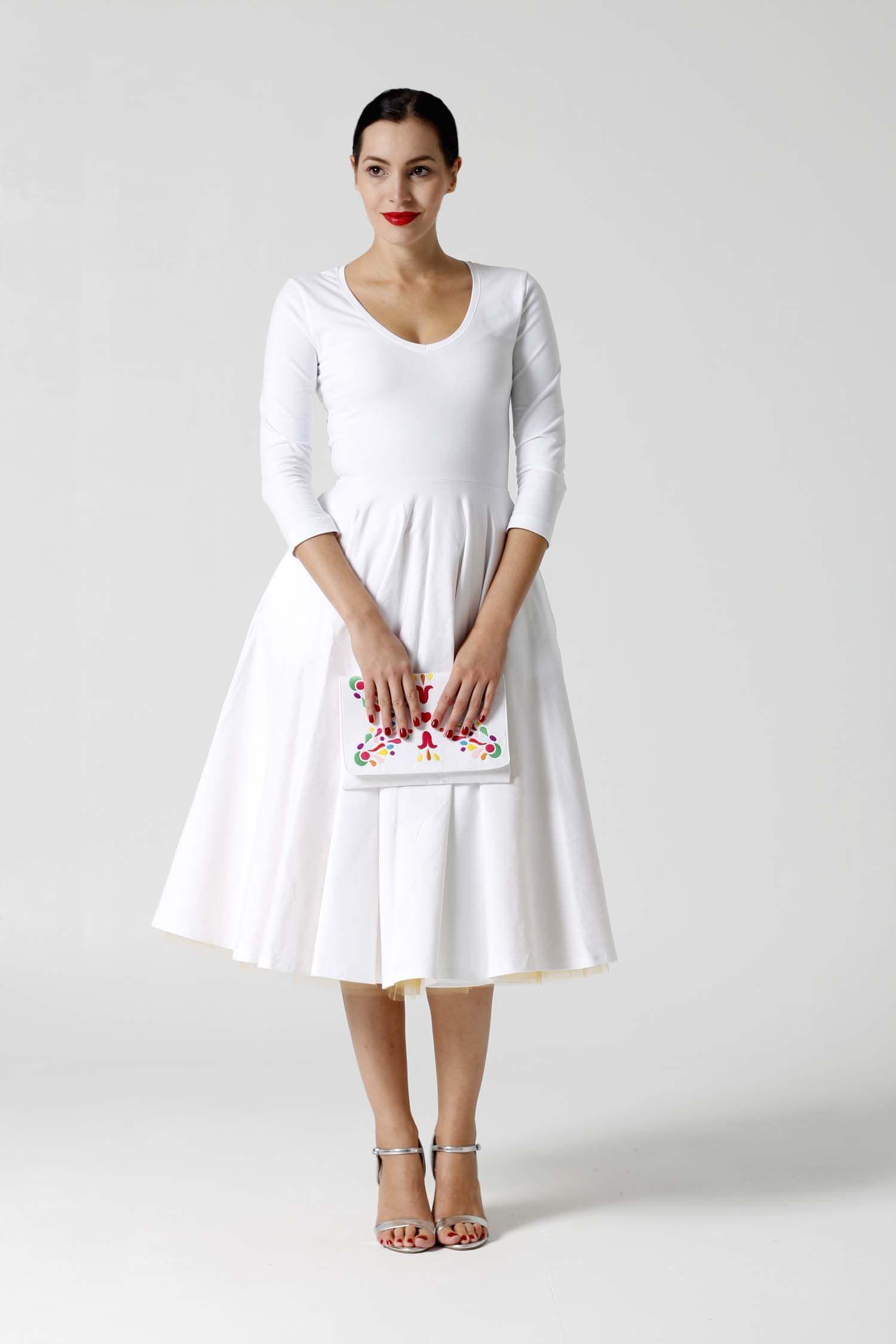 Šaty Midi biele s véčkom   ZuzanaZachar  dd75f6c47e7