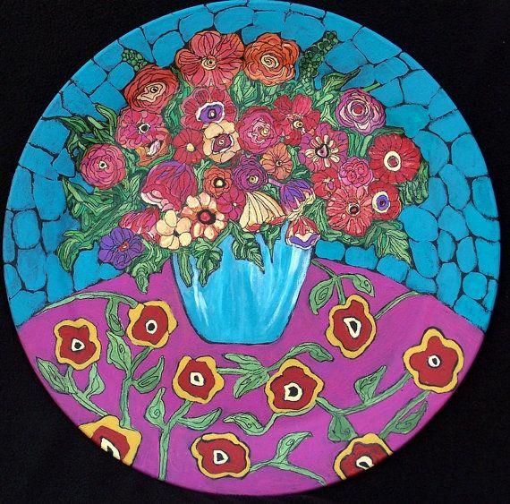 Original Folk Art Flower Bouquet Painting on a by lindakellyart, $375.00