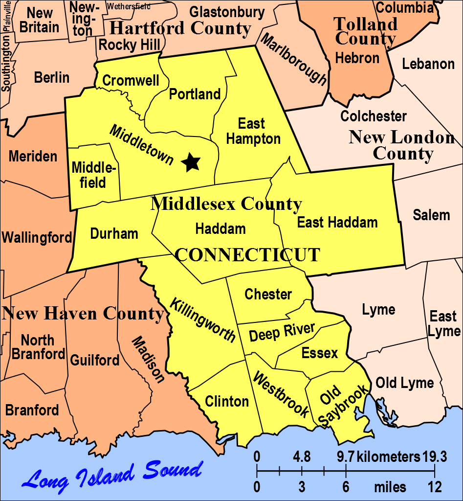 Map Of Towns In Middlesex And New Haven County Ct Modern Towns - Map of connecticut cities