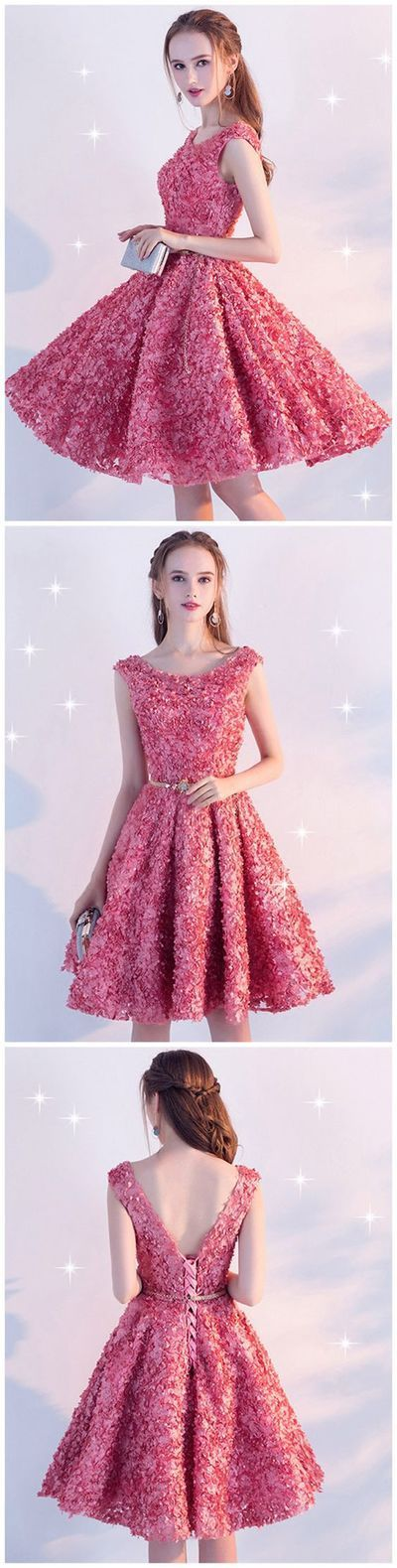 Beautiful Homecoming Dress Scoop Lace-up Lace Short Prom Dress Party ...