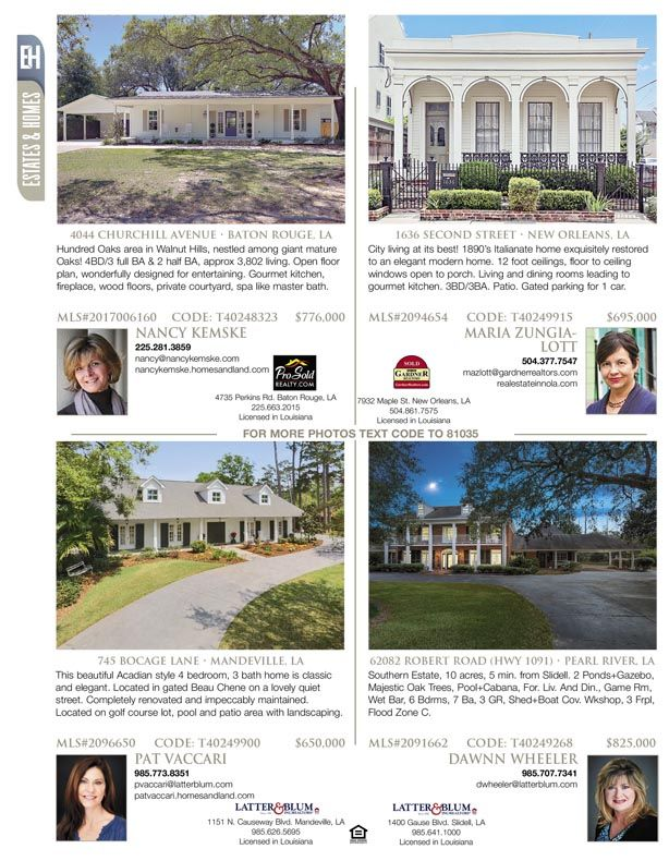 Nancy Kemske Maria Zungialott Pat Vaccari And Dawnn Wheeler Are The Agents For These Great Listings Featured In Our House And Home Magazine Estate Homes Home
